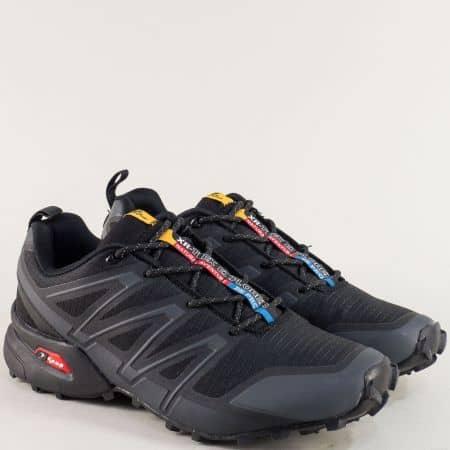 Спортни мъжки обувки в черен цвят с връзки- KNUP 3872-45chsv