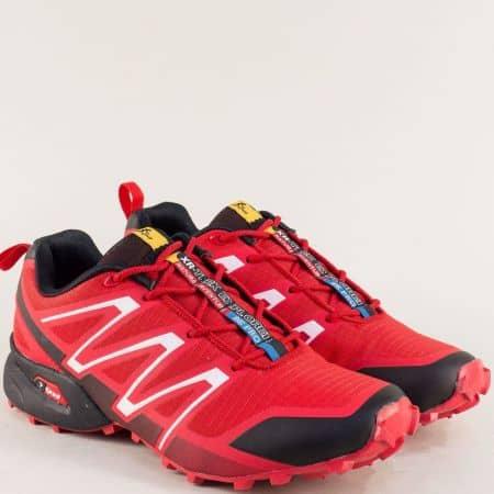 Червени мъжки маратонки с връзки и равно ходило 3872-45chv