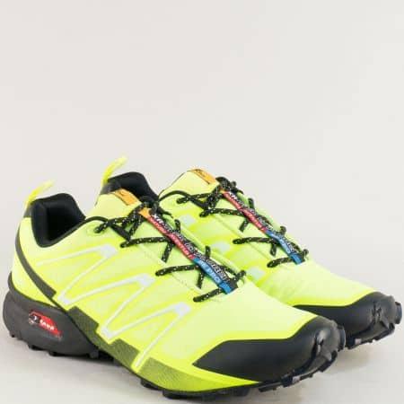 Мъжки маратонки в неоново жълто с връзки- KNUP 3872-45fj