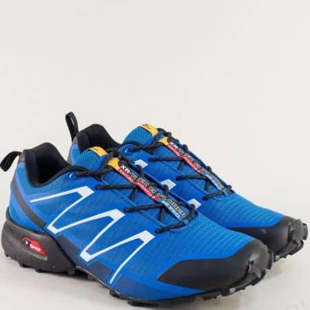 Мъжки спортни обувки в син цвят с връзки- KNUP 3872-45sch