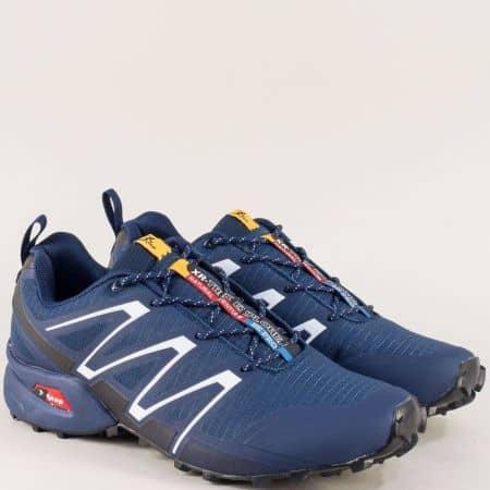 Тъмно сини мъжки маратонки с връзки- KNUP 3872-45ts
