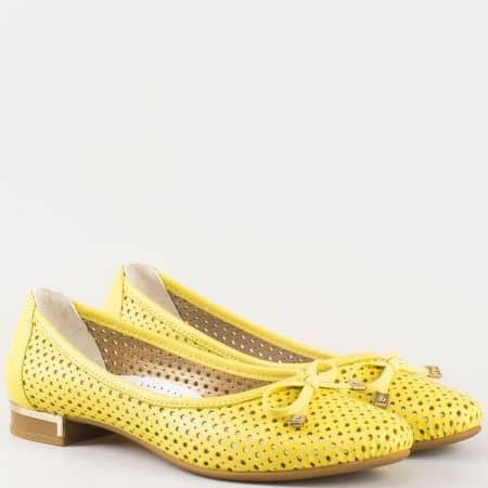 Жълти дамски обувки, тип балерини с кожена стелка 39257j