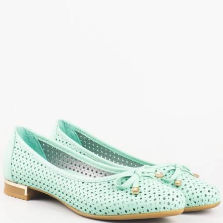 Зелени дамски обувки на нисък ток от естествена кожа 39257z