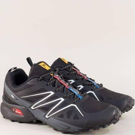 Мъжки маратонки с връзки в черен цвят- KNUP 3946-45chsv