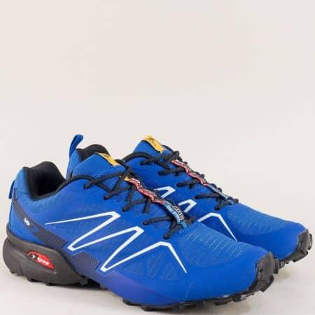 Мъжки спортни обувки с връзки в син цвят- KNUP 3946-45s