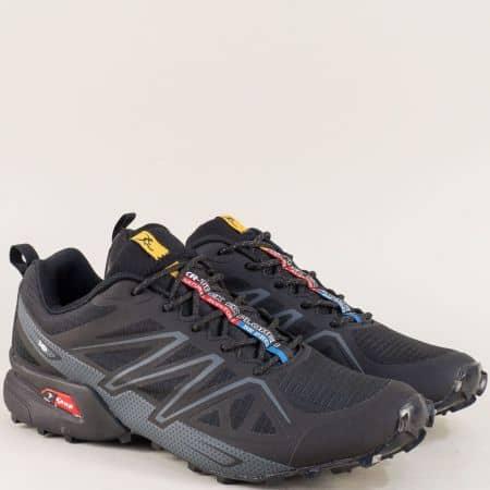 Мъжки спортни обувки в черен цвят с връзки- Knup 3946-49ch