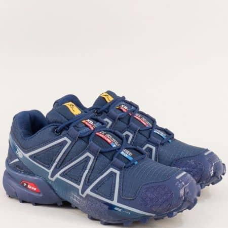 Дамски маратонки с връзки в тъмно син цвят- Knup 3947-40ts