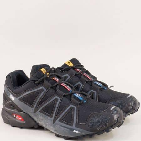 Черни мъжки маратонки с връзки и стабилно ходило 3947-45ch