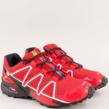 Мъжки спортни обувки с връзки в червен цвят- Knup 3947-45chv
