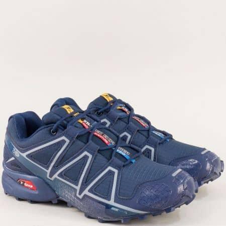 Мъжки спортни обувки с връзки в тъмно син цвят 3947-45ts
