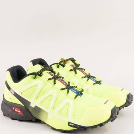 Мъжки спортни обувки с връзки в зелен цвят- Knup 3947-45z