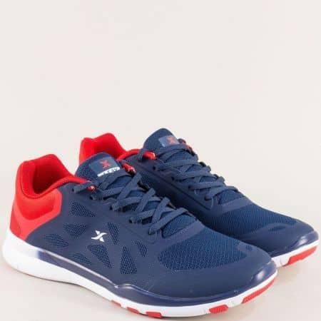 Мъжки маратонки в бяло, червено и синьо- KNUP 3963-45schv