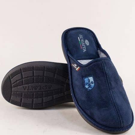 Домашни мъжки пантофи в тъмно син цвят- SPESITA 397ts