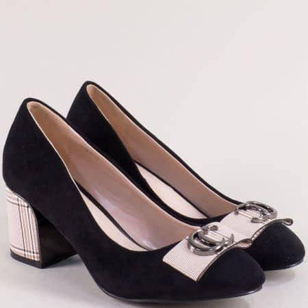 Черни дамски обувки на висок ток с частичен принт каре  39825vchbj