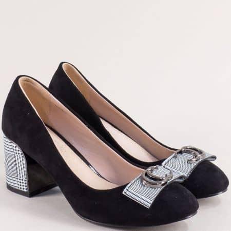 Черни дамски обувки на висок ток с принт каре- ELIZA 39825vchs