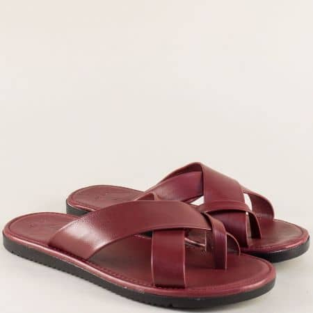 Мъжки чехли в цвят бордо от естествена кожа 399bd