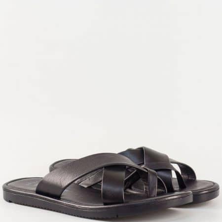 Мъжки чехли за всеки ден изработени от изцяло естествена кожа в черен цвят 399ch
