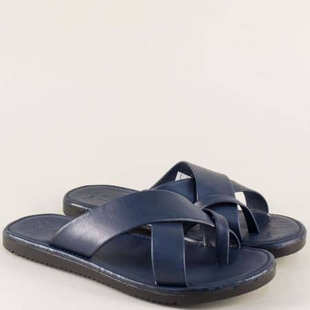 Сини мъжки чехли от естествена кожа между пръстите 399s