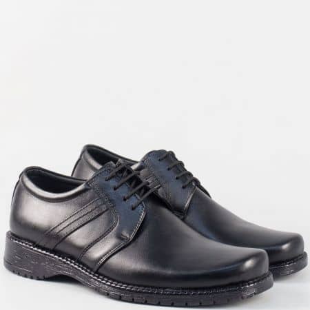 Мъжки черни обувки с връзки, изцяло от естествена кожа 39ch