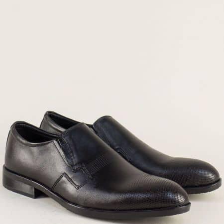 Кожени мъжки обувки с два ластика и кожена стелка 3ch