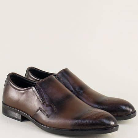 Тъмно кафяви мъжки обувки с ластик от естествена кожа 3k
