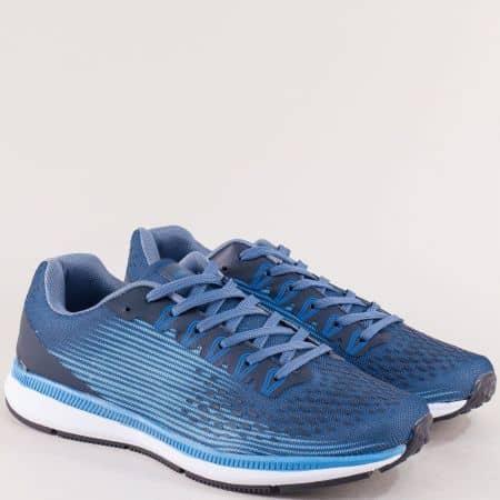 Мъжки маратонки с връзки в син цвят- MAT STAR 400053s
