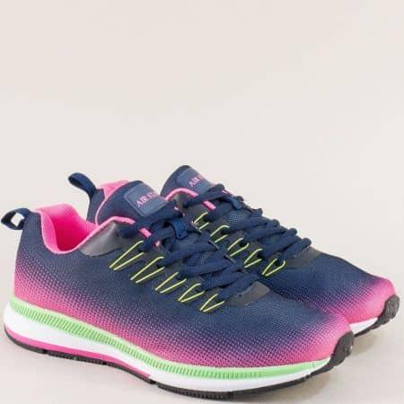 Дамски маратонки с връзки в син цвят- MAT STAR  400057s