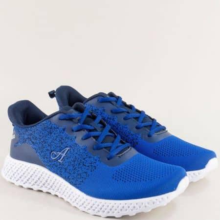 Мъжки маратонки в син цвят с връзки- MAT STAR 400073s