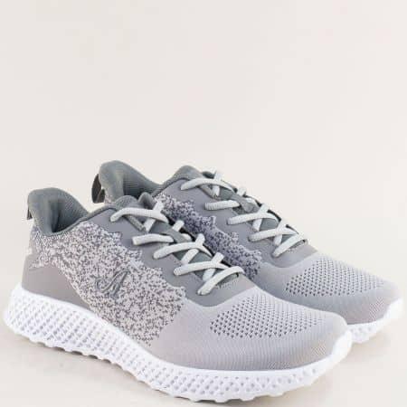 Мъжки маратонки в сив цвят с връзки- MAT STAR 400073sv