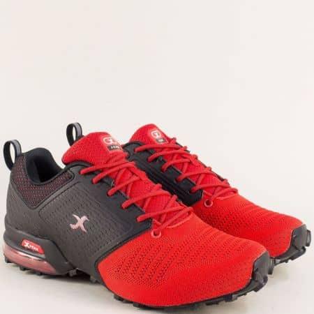 Спортни мъжки обувки с връзки в червено и черно  40190-45chvch