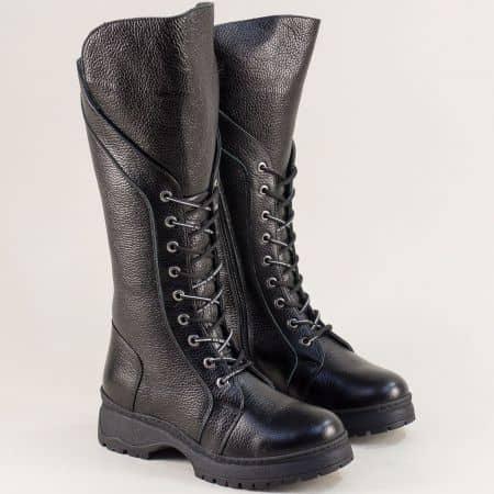 Черни дамски ботуши от естествена кожа с връзки 40368ch