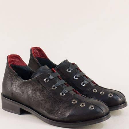 Черни ефектни дамски обувки от естествена кожа 40517ch