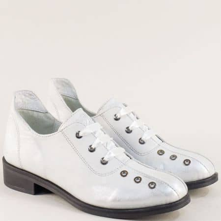Fashion дамски обувки от естествена кожа в бял сатен 40517sb