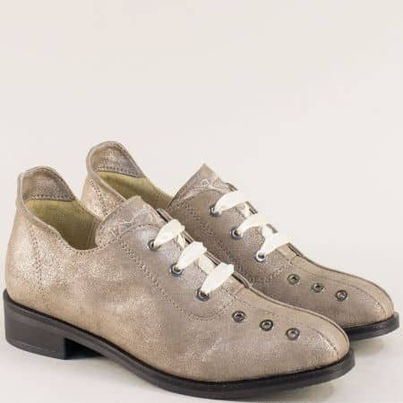 Златни дамски обувки от сатен и естествена кожа 40517zl