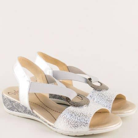 Сребърни дамски сандали на клин ходило- VALERIA'S 4067sr