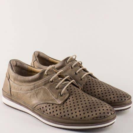 Бежови мъжки обувки от естествена кожа с перфорация 407bj