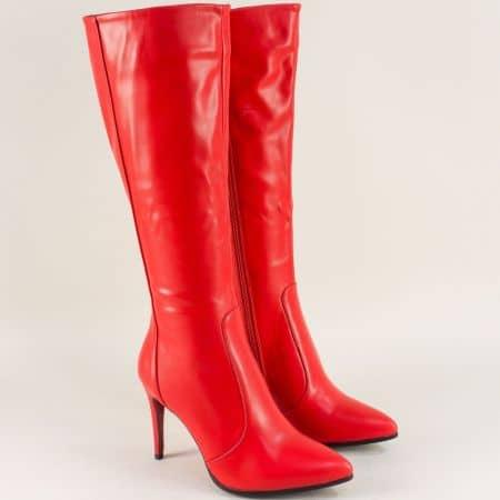Червени дамски ботуши на елегантен висок ток 4091chv