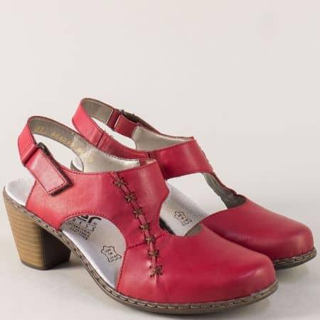 Дамски сандали със затворени пръсти в червен цвят 40950chv