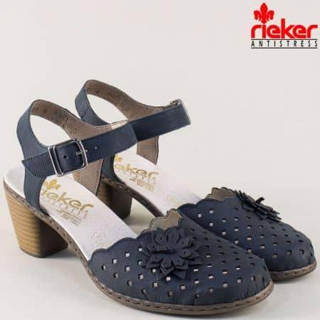 Кожени дамски обувки Rieker в синьо с перфорация на среден ток  40956s