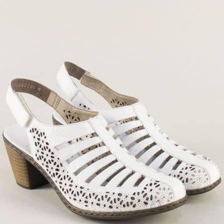 Бели дамски сандали на среден ток от естествена кожа 40959b