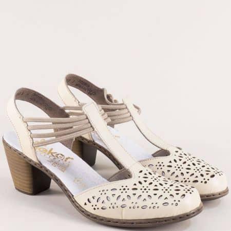 Бежови дамски сандали на среден ток от естествена кожа 40969bj