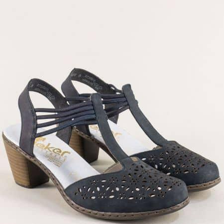 Сини дамски сандали на среден ток на марка Rieker 40969ns