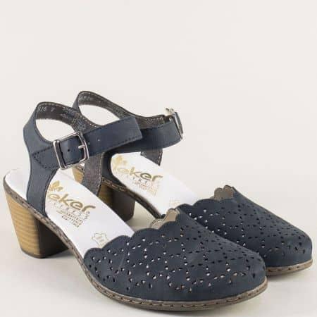 Сини дамски сандали със затворени пръсти и перфорация 40972s