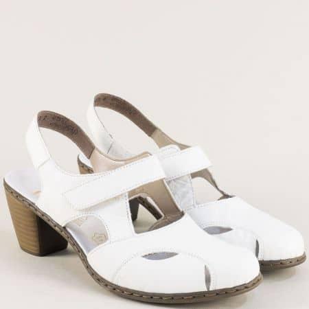 Бели дамски сандали на среден ток от естествена кожа 40974b