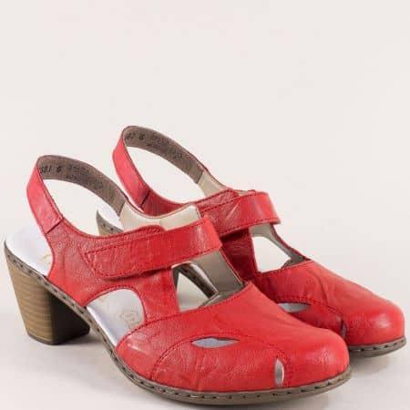Червени дамски сандали със затворени пръсти и лепка 40974chv