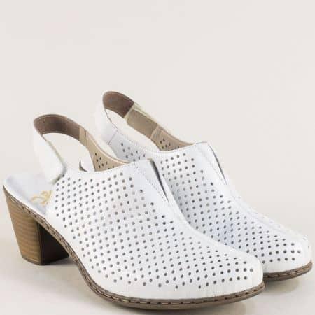 Бели дамски сандали със затворени пръсти и перфорация 40976sb