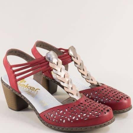 Червени дамски сандали с перфорация на среден ток 409781chv