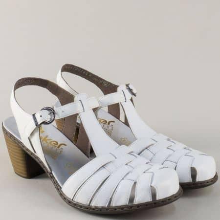 Бели дамски сандали на среден ток от естествена кожа 40978b