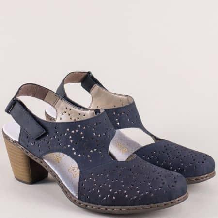 Сини дамски обувки с отворена пета от естествена кожа 40979s