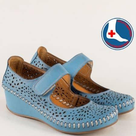 Ортопедични дамски обувки от синя естествена кожа 4101s